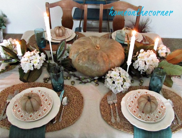 fall tablescape 2017 orange and turquoise with burlap pumpkins