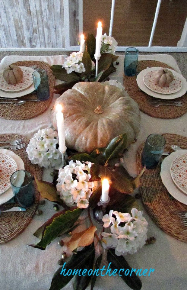 fall tablescape 2017 pumpkins, candles, acorns