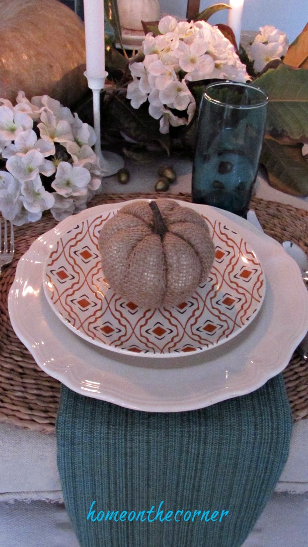 fall tablescape 2017 white, orange and turquoise