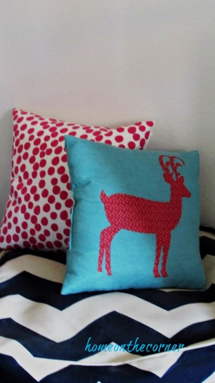 Christmas in the guest room deer pillow polka dot pillow