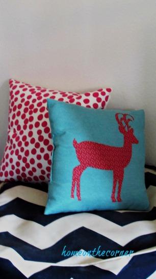 Christmas in the guest room deer pillow polka dot pillow