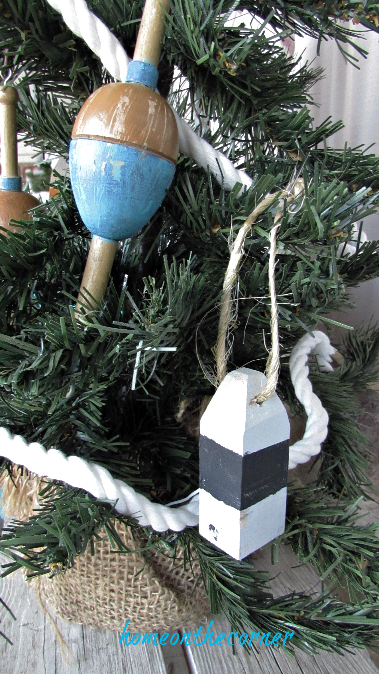 Christmas Wooden Buoy Ornament Black and White