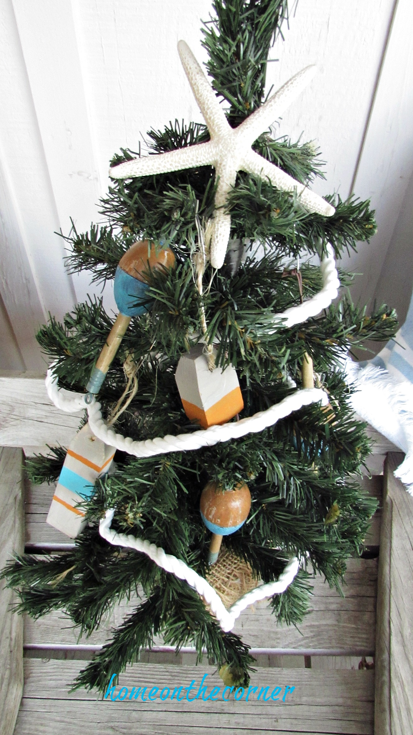 Christmas Wooden Buoy Ornament Faux Tree