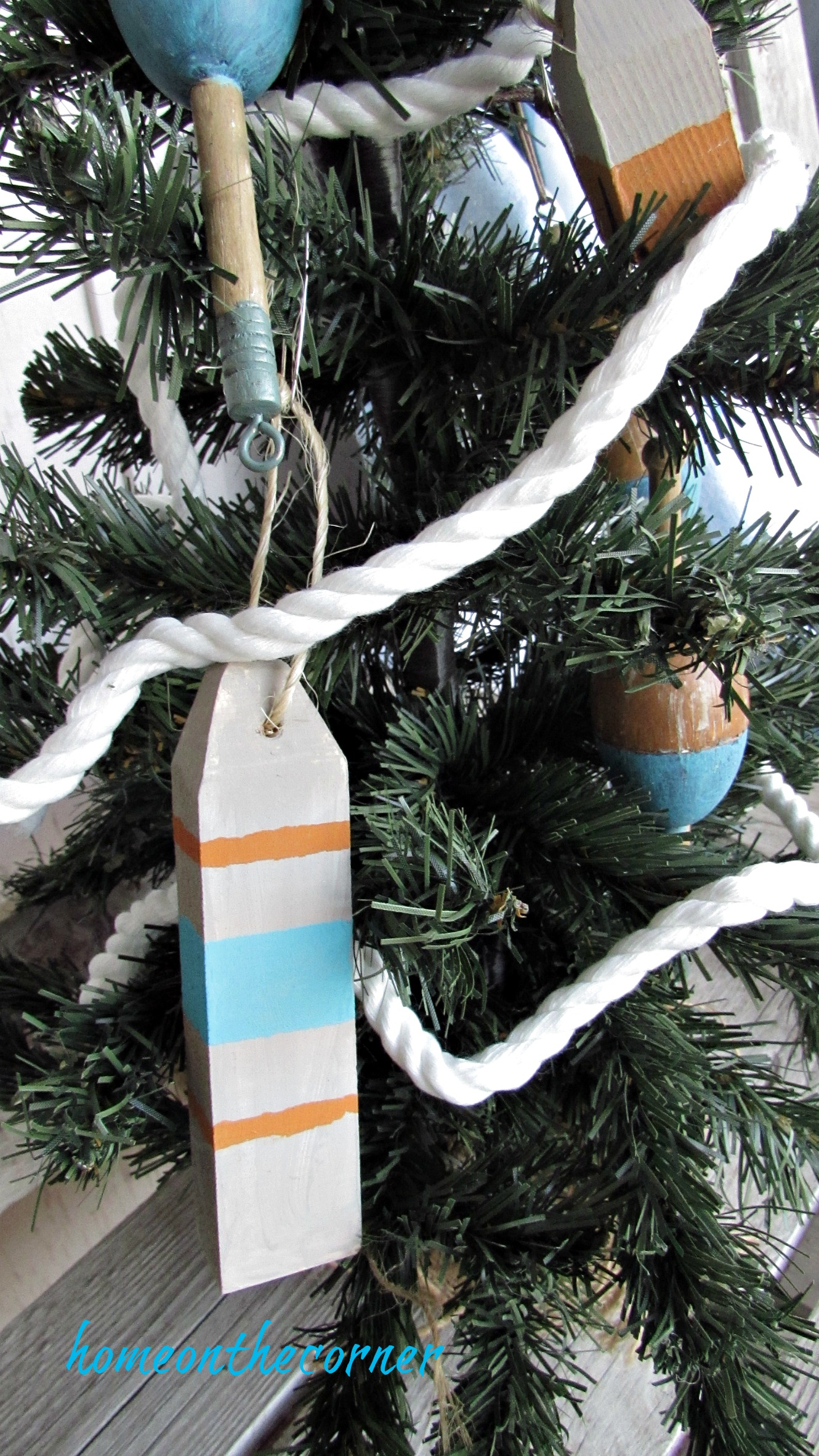 Christmas Wooden Buoy Ornament Turquoise, orange, grey
