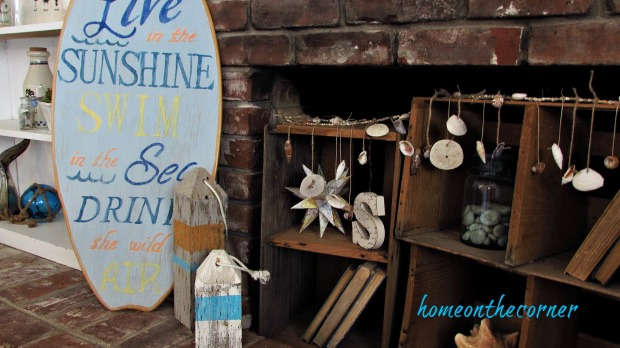 surfboard makeover bookshelves and fireplace
