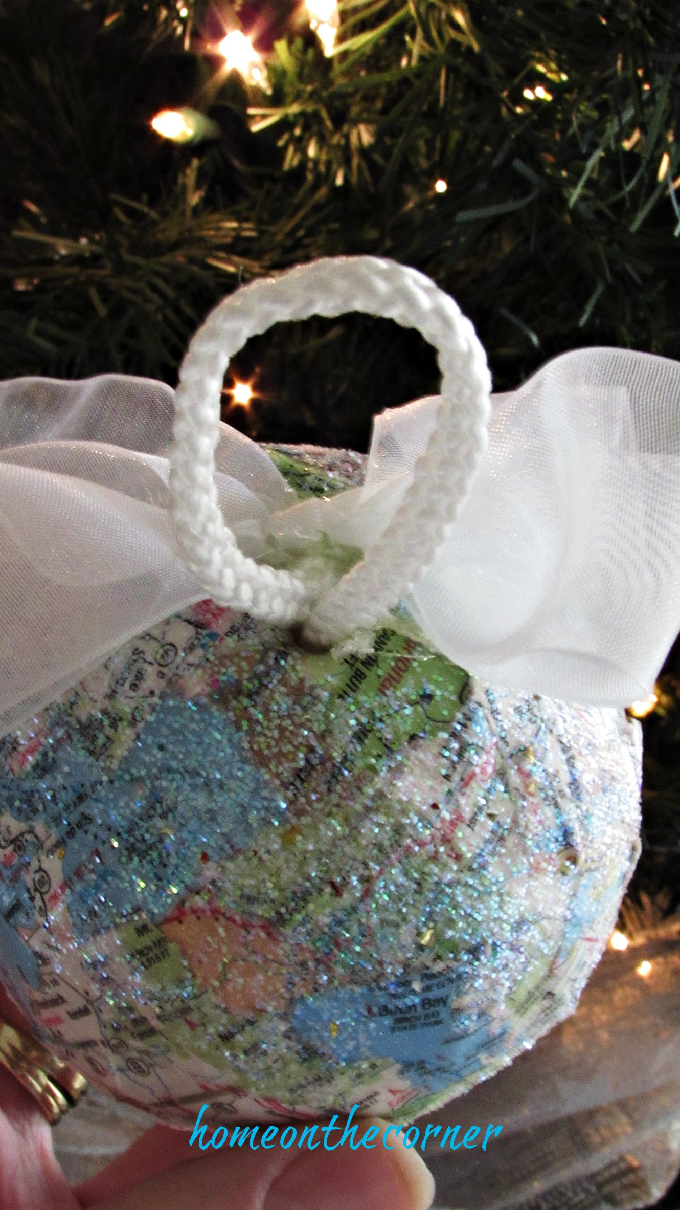travel ornament glitter sparkles and hanger