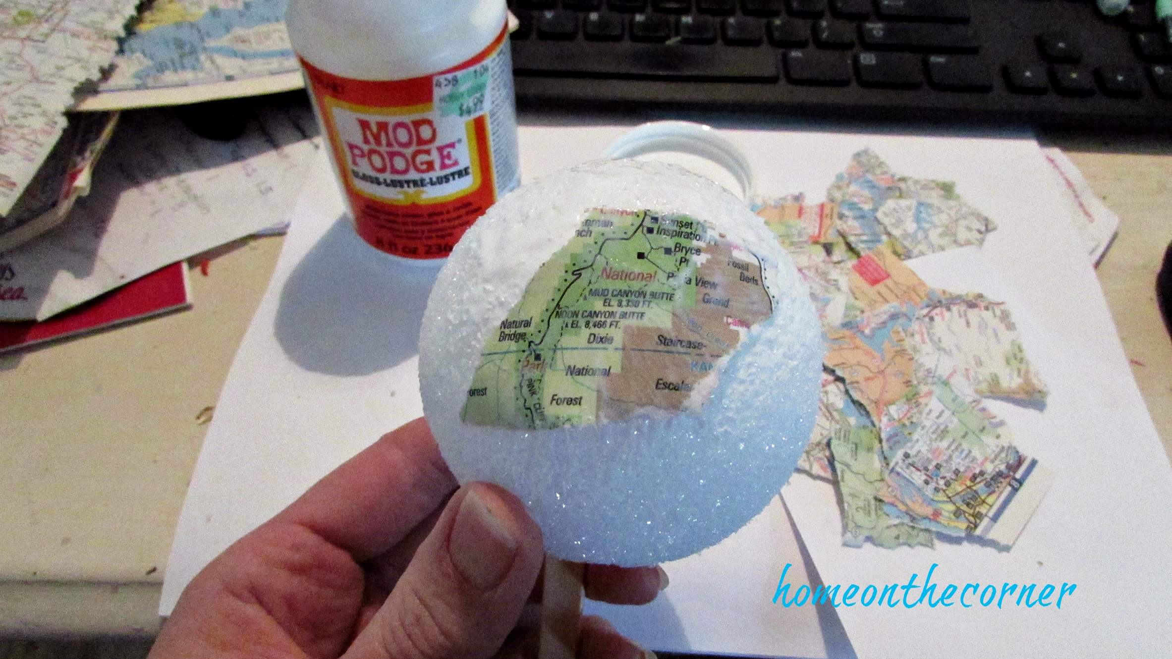 travel ornament map pieces decoupage