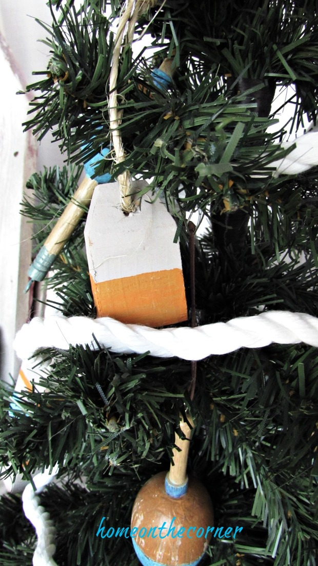 Wooden Christmas Buoy Ornament Orange and White