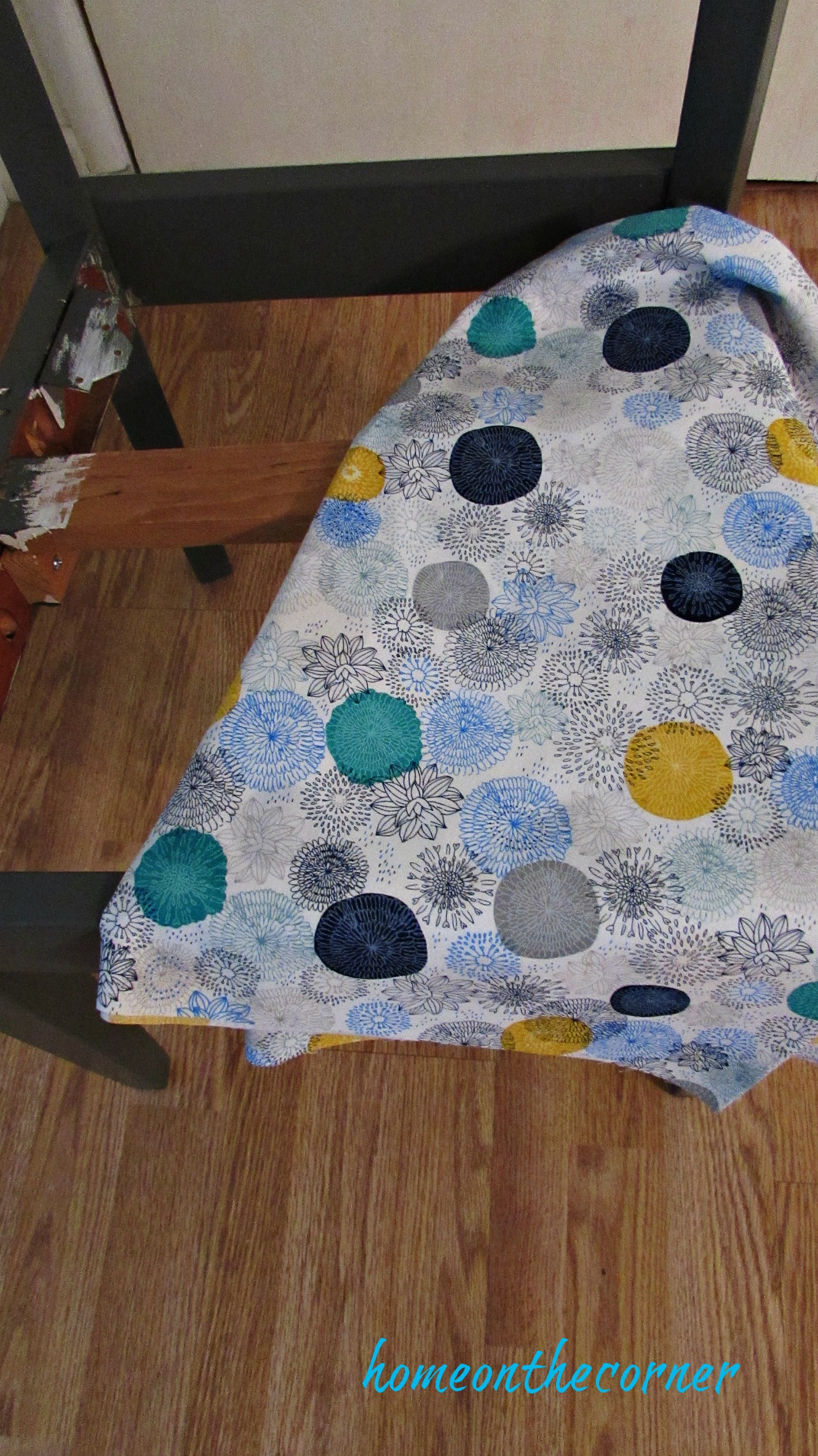 desk chair makeover floral fabric