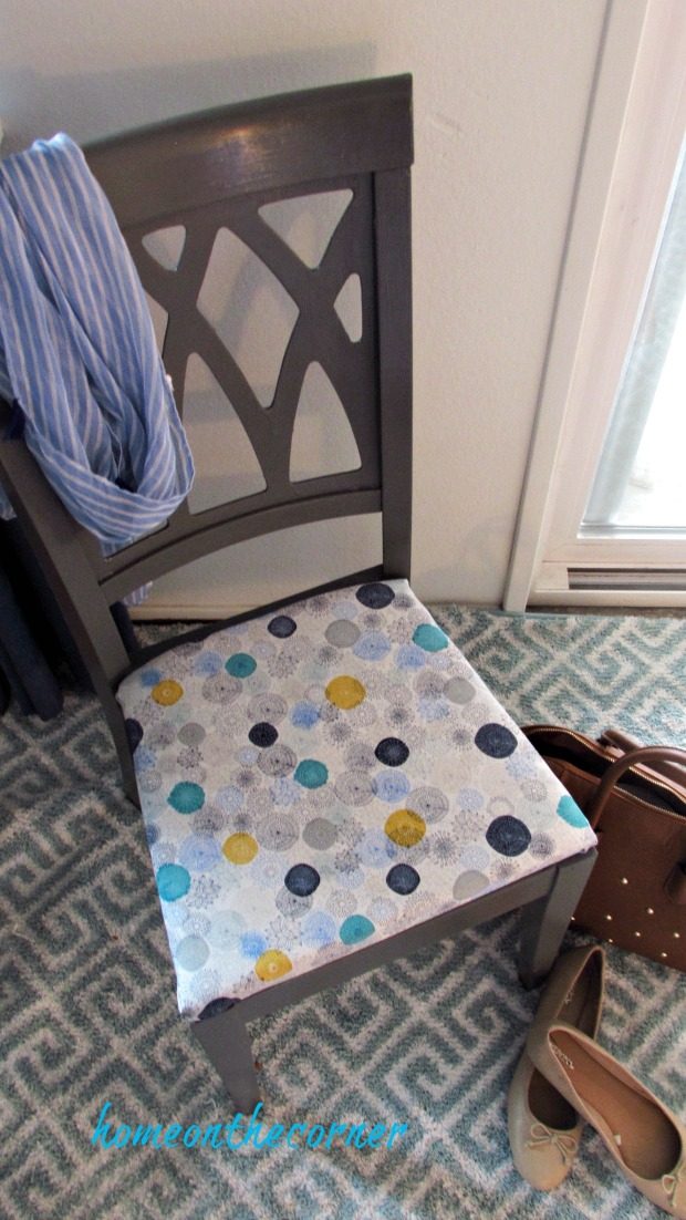 desk chair makeover grey, turquoise