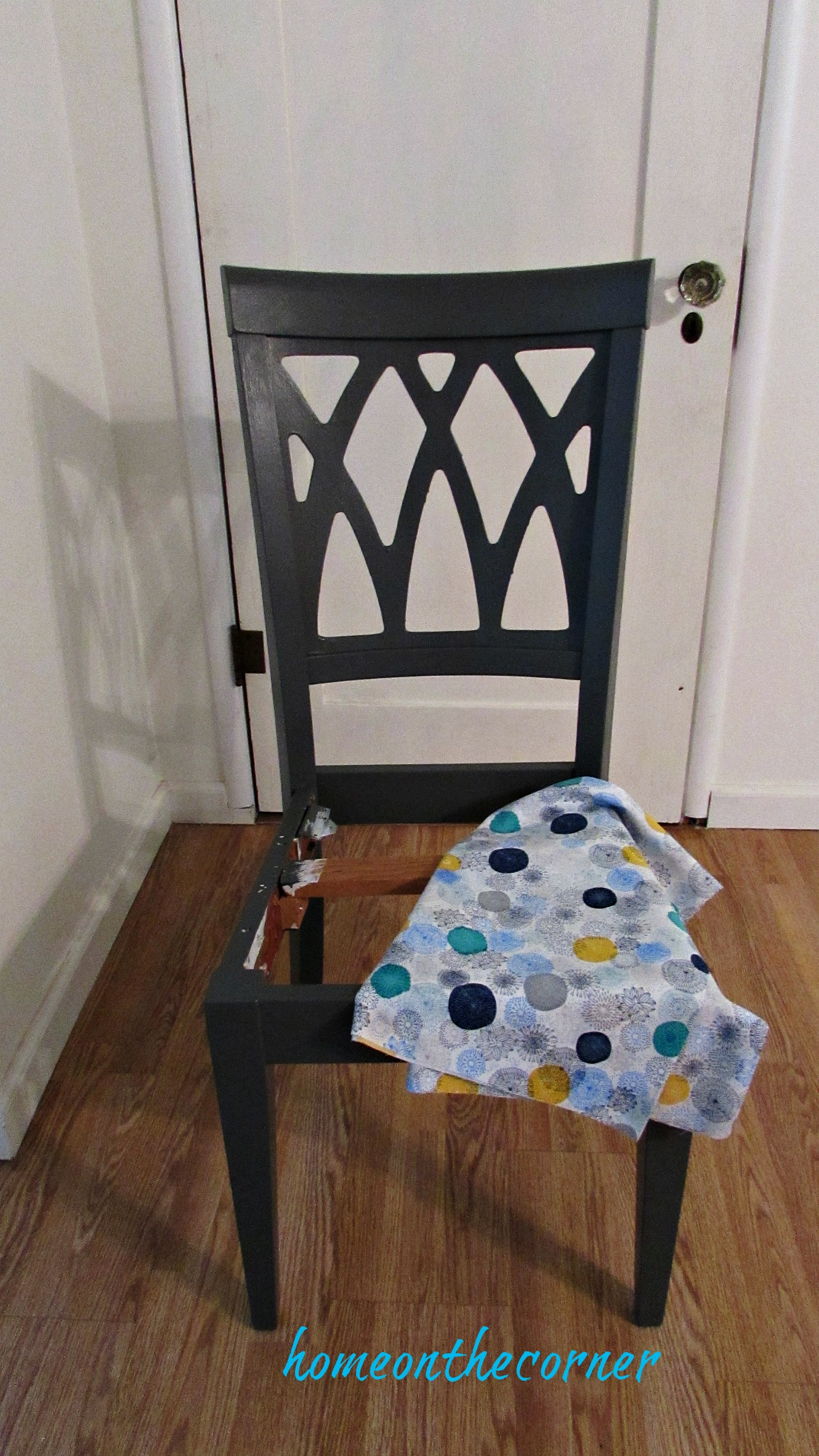 desk chair makeover grey with fabric