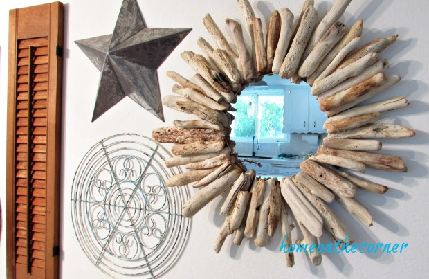 driftwood mirror gallery wall with metal star, shutter