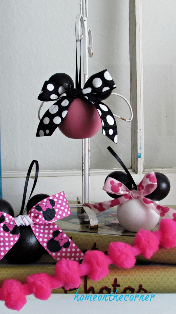 minnie mouse wooden ball ornament pink, black and white