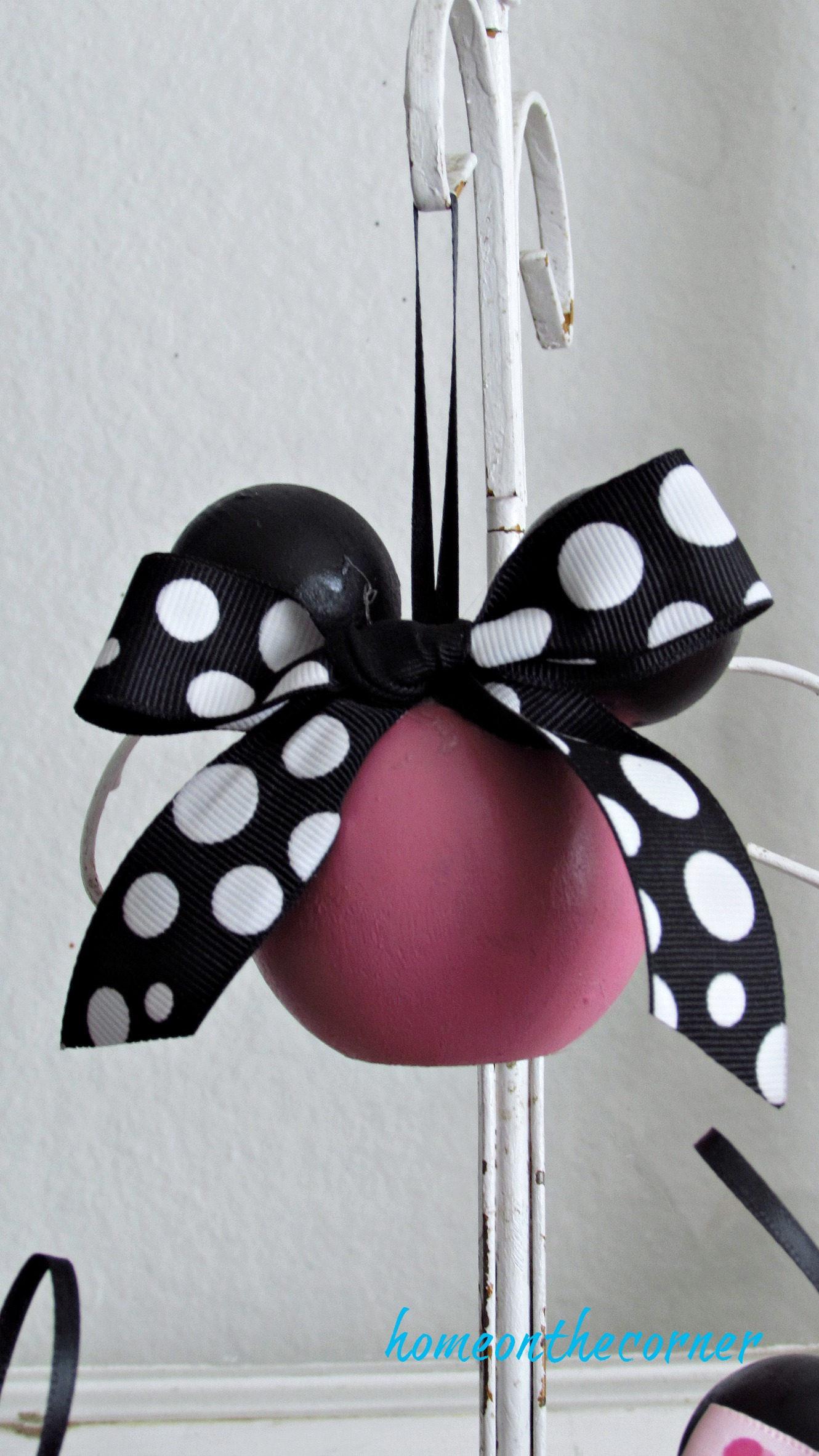 minnie mouse wooden ornament pink and black polka dot bow