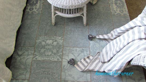 natural area rug turquoise patchwork tassel banket