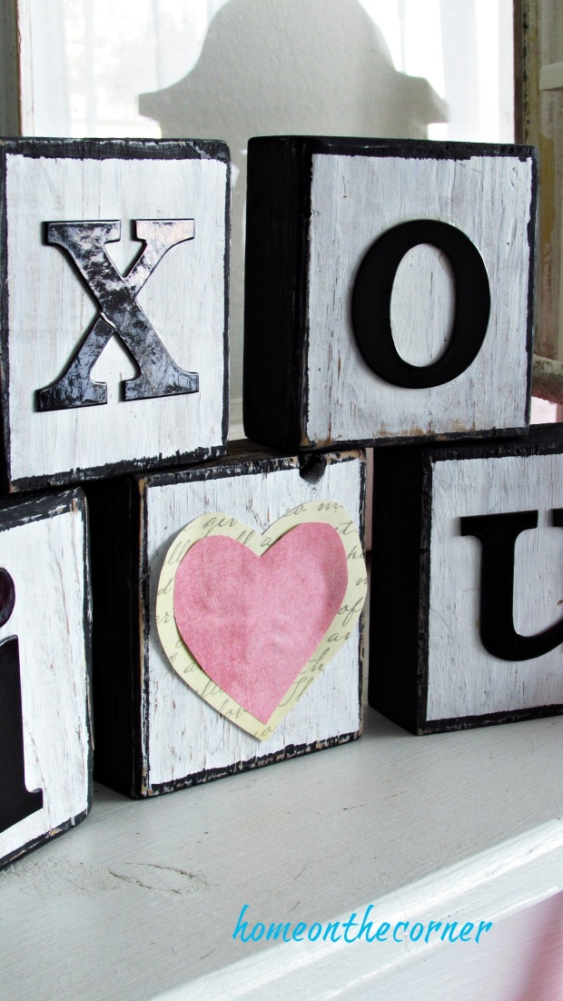 wooden blocks black and white and pink
