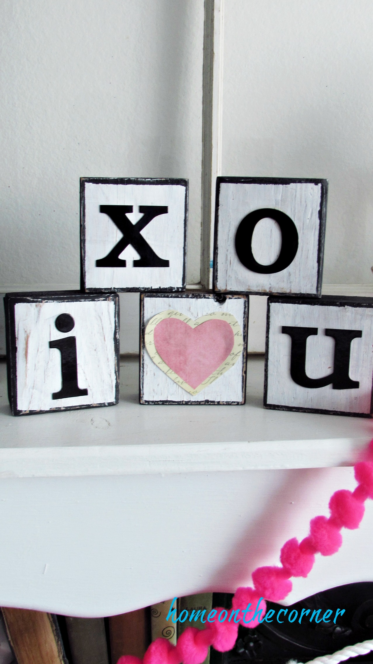 wooden blocks i love you pink heart