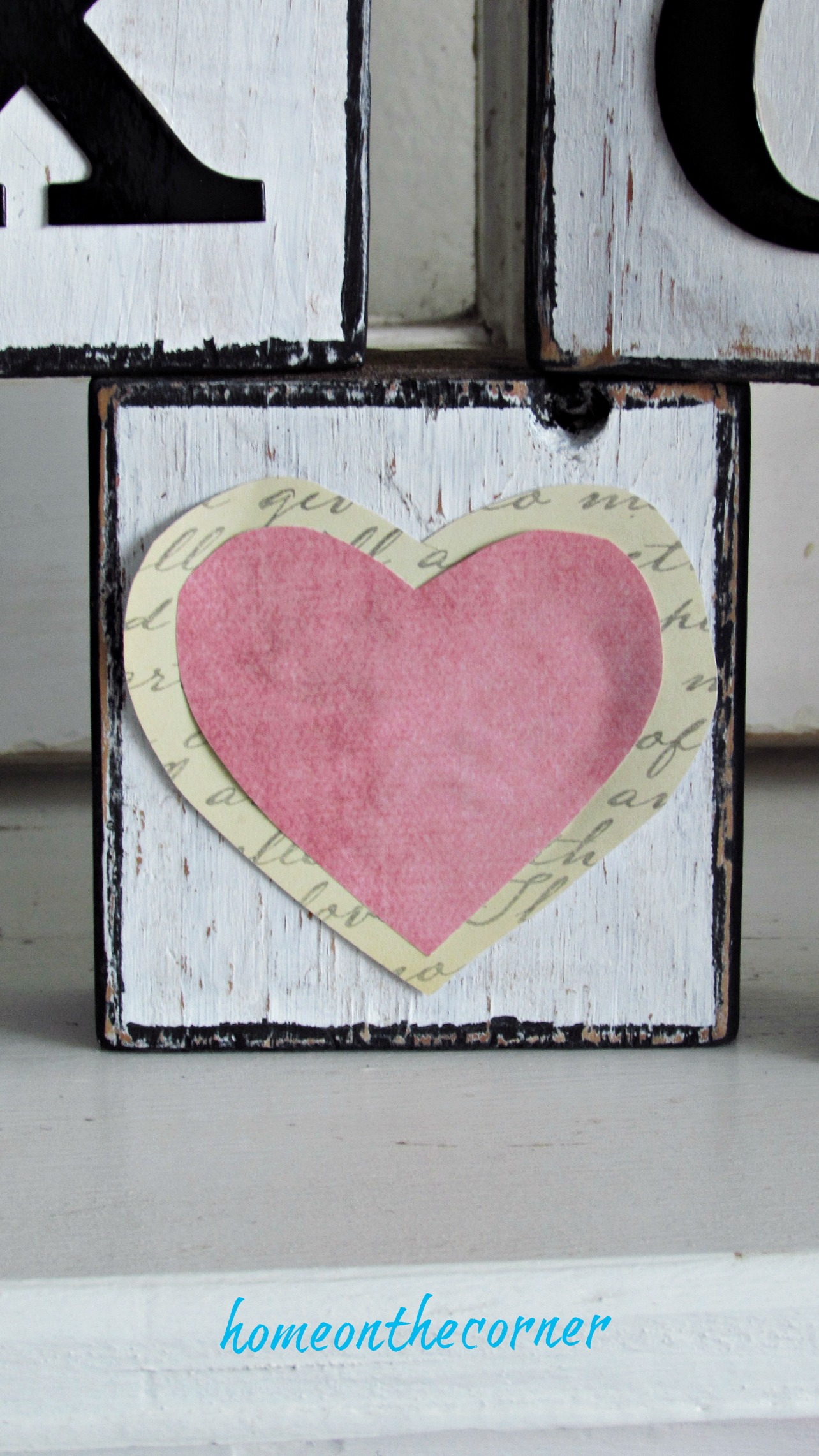 wooden blocks pink heart