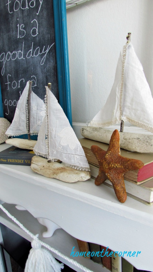 driftwood sailboat coastal display ocean