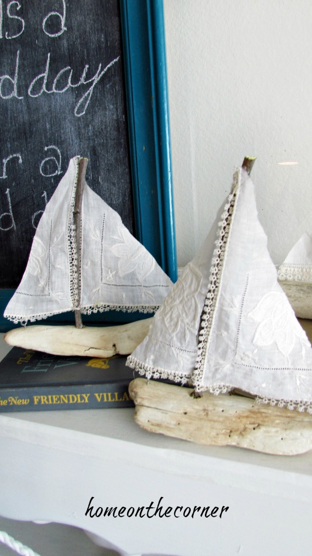 driftwood sailboat linen hankies