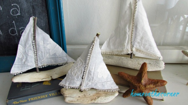 driftwood sailboat trio