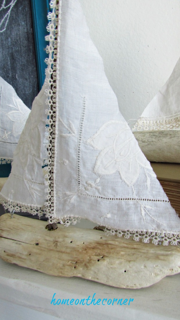 driftwood sailboat vintage cloth lace