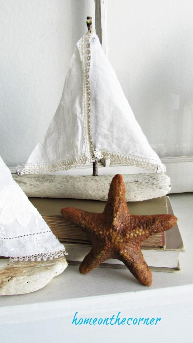 driftwood sailboat vintage linen starfish