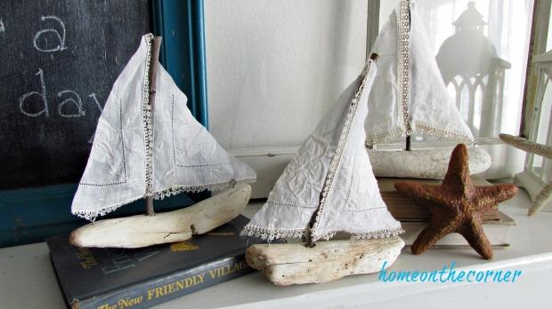 driftwood sailboat vintage linen