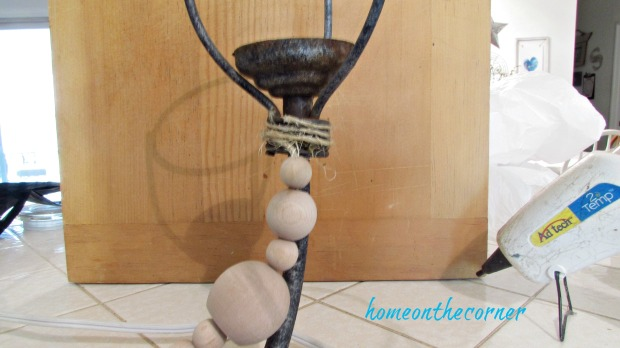 farmhouse chandelier twine and beads