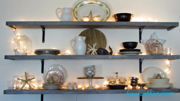 party tablescape dining room shelves