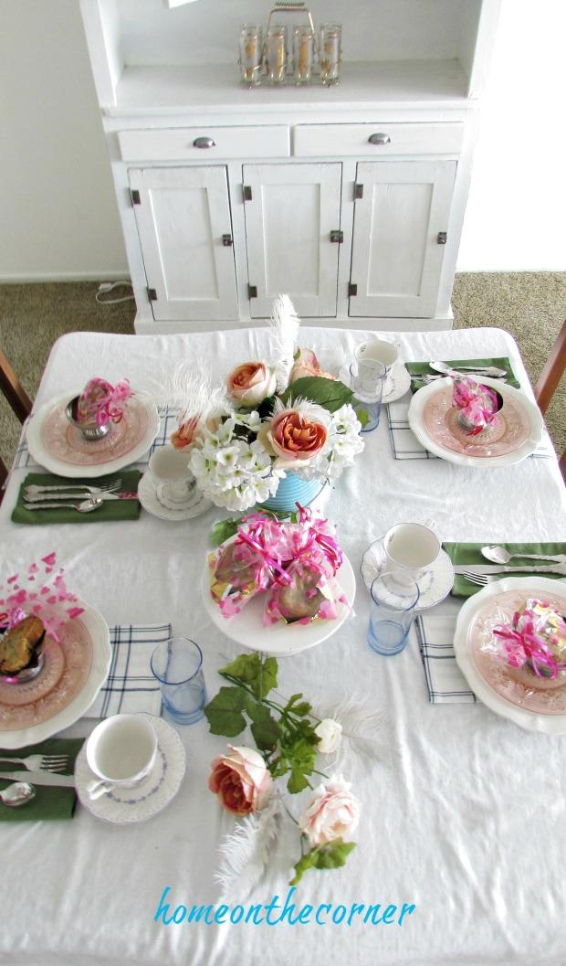 valentine spring tablescape pink blue vintage plates