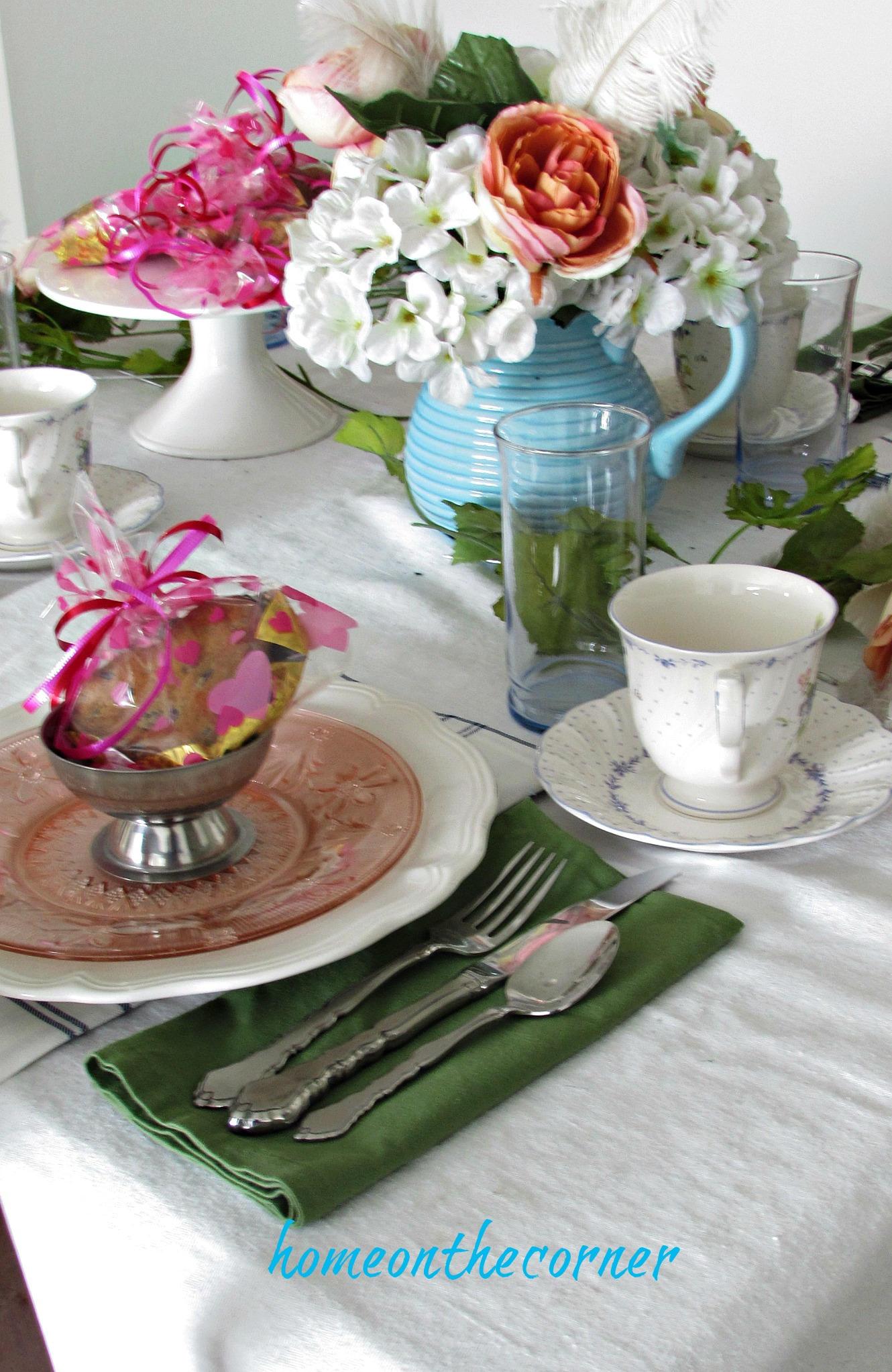 valentine spring tablescape place setting pink blue green
