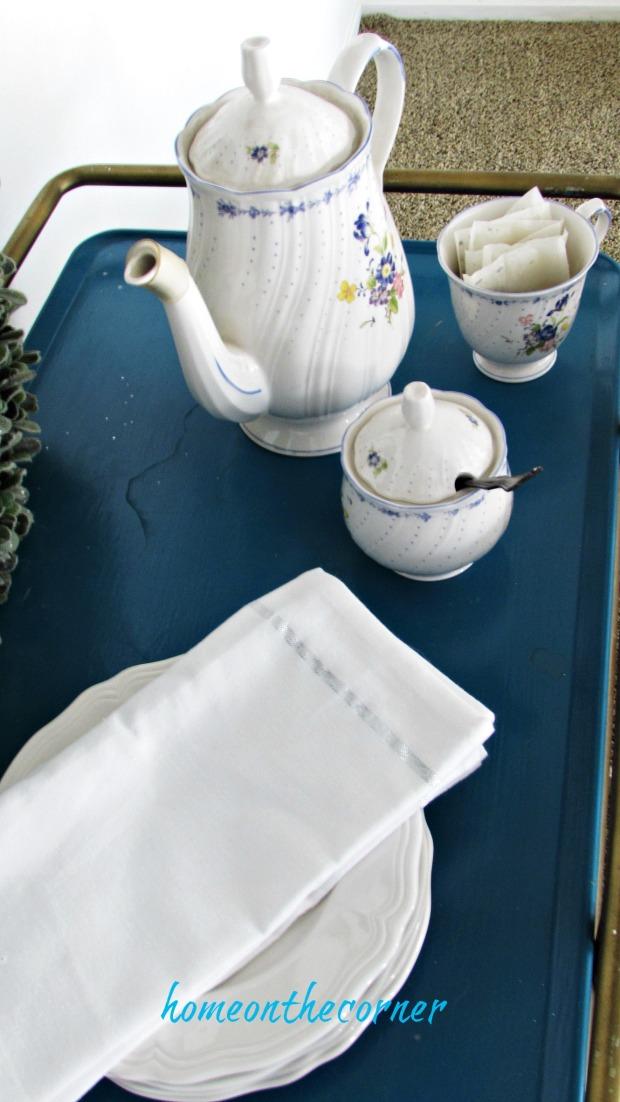 valentine spring tablescape tea set blue peony