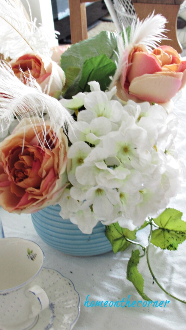valentine spring tablescape turquoise teapot of flowers