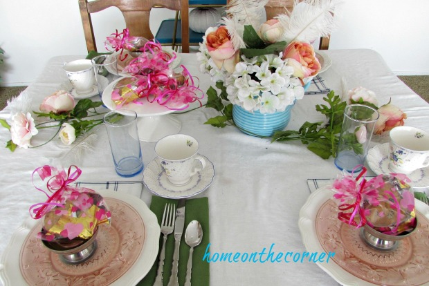 valentinespring tablescape blue peony pink flowers