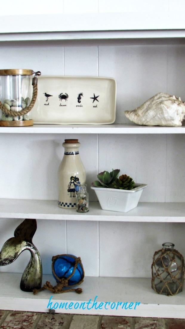 family room styled bookshelves