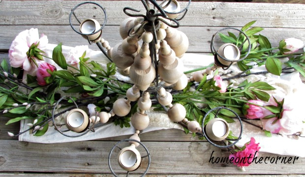 farmhouse beaded chandelier with flowers