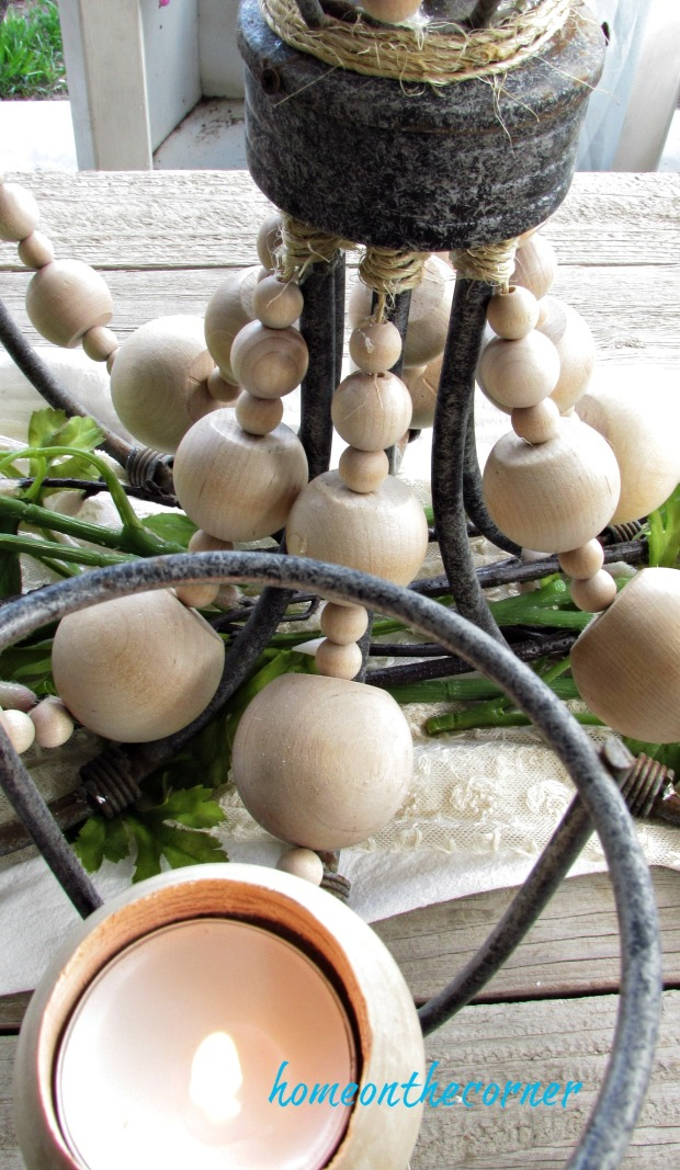 farmhouse chandelier wooden beads candles