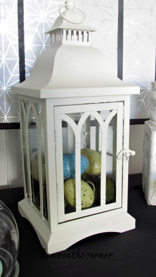 spring entryway lantern and eggs