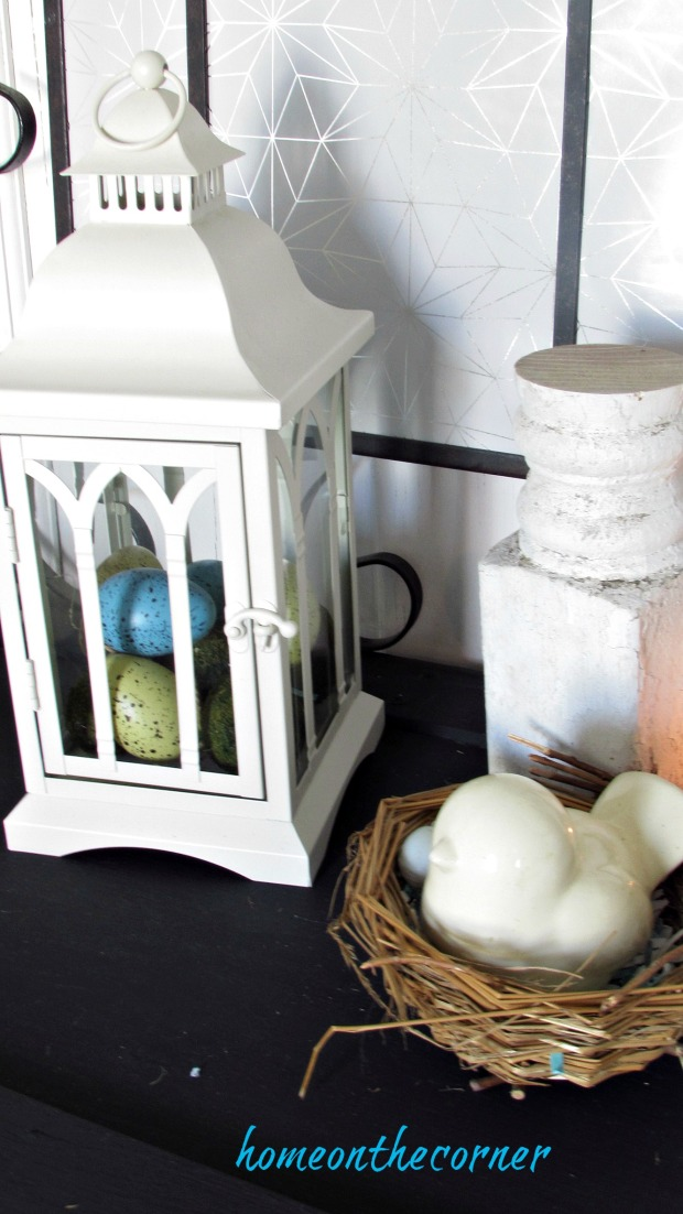spring entryway lantern eggs, bird nest