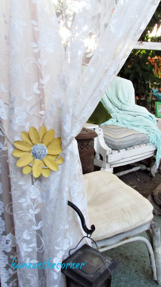 backyard gazebo lace curtain sunflower