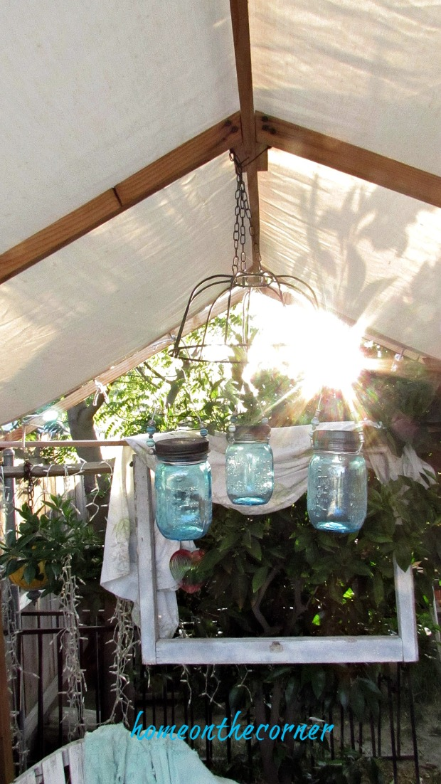 backyard gazebo mason jar chandelier