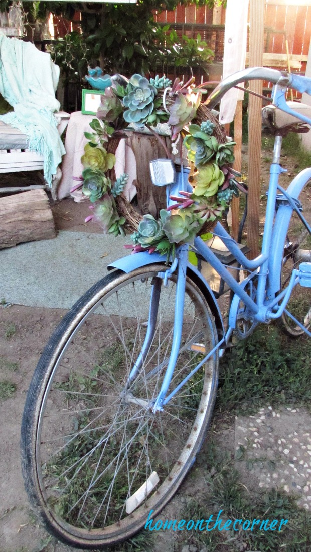 backyard gazebo old blue bicycle succulent wreath