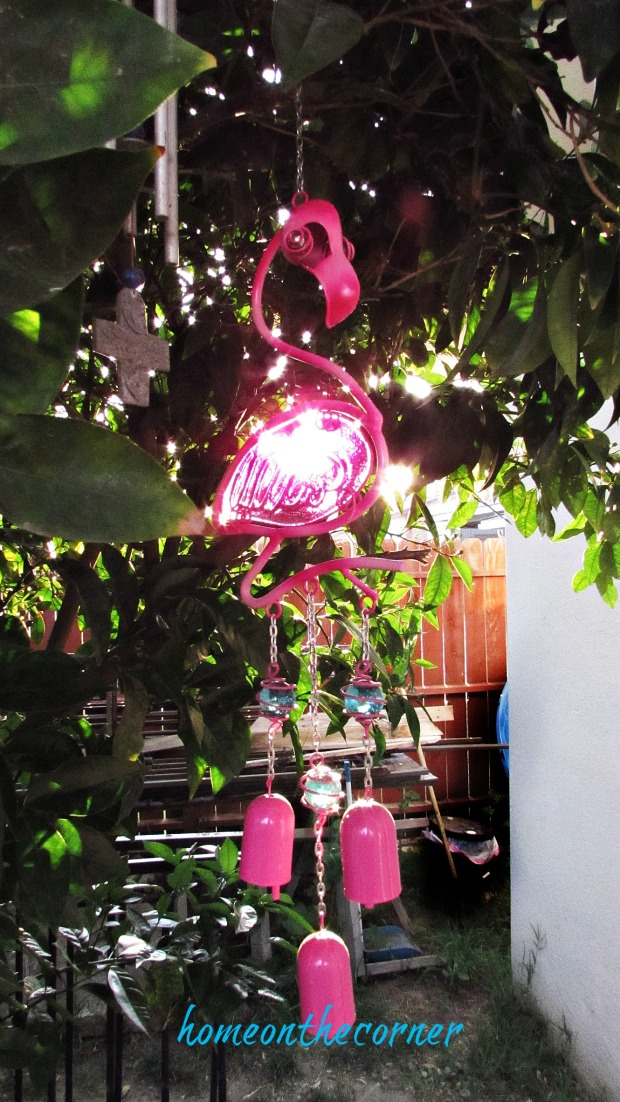 backyard gazebo pink flamingo wind chime