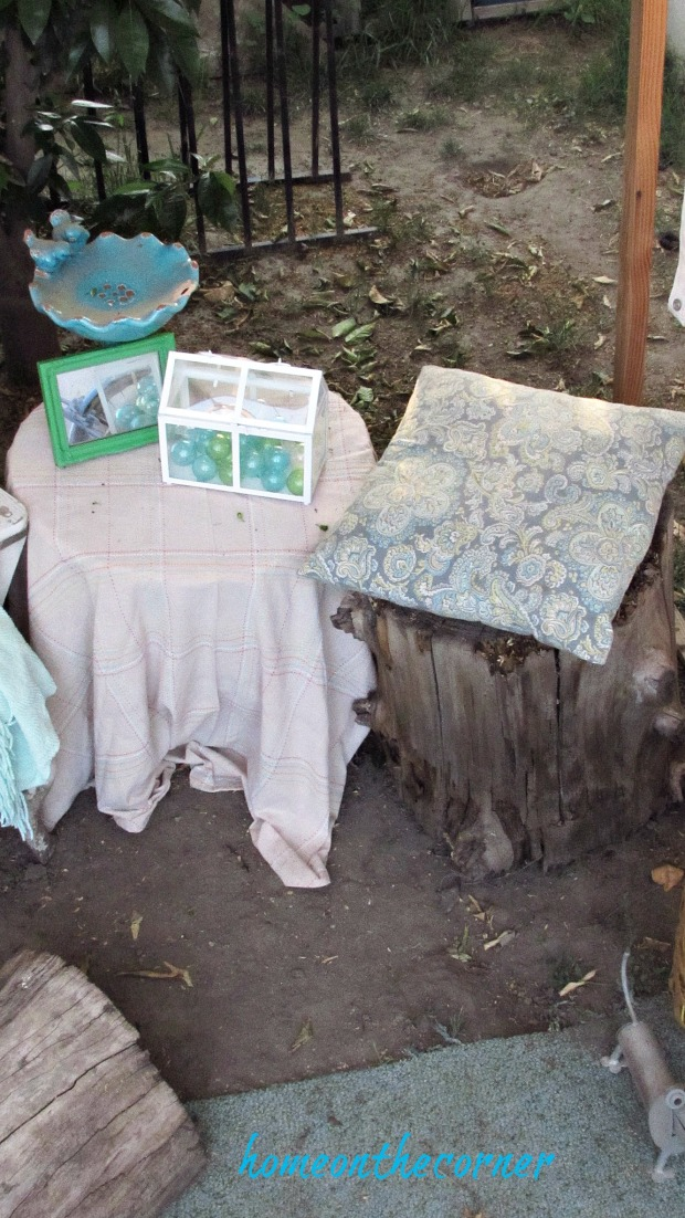 backyard gazebo side table stump stool