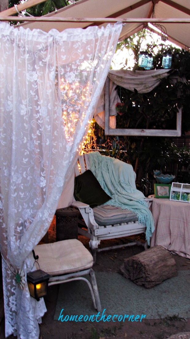 backyard gazebo with lights
