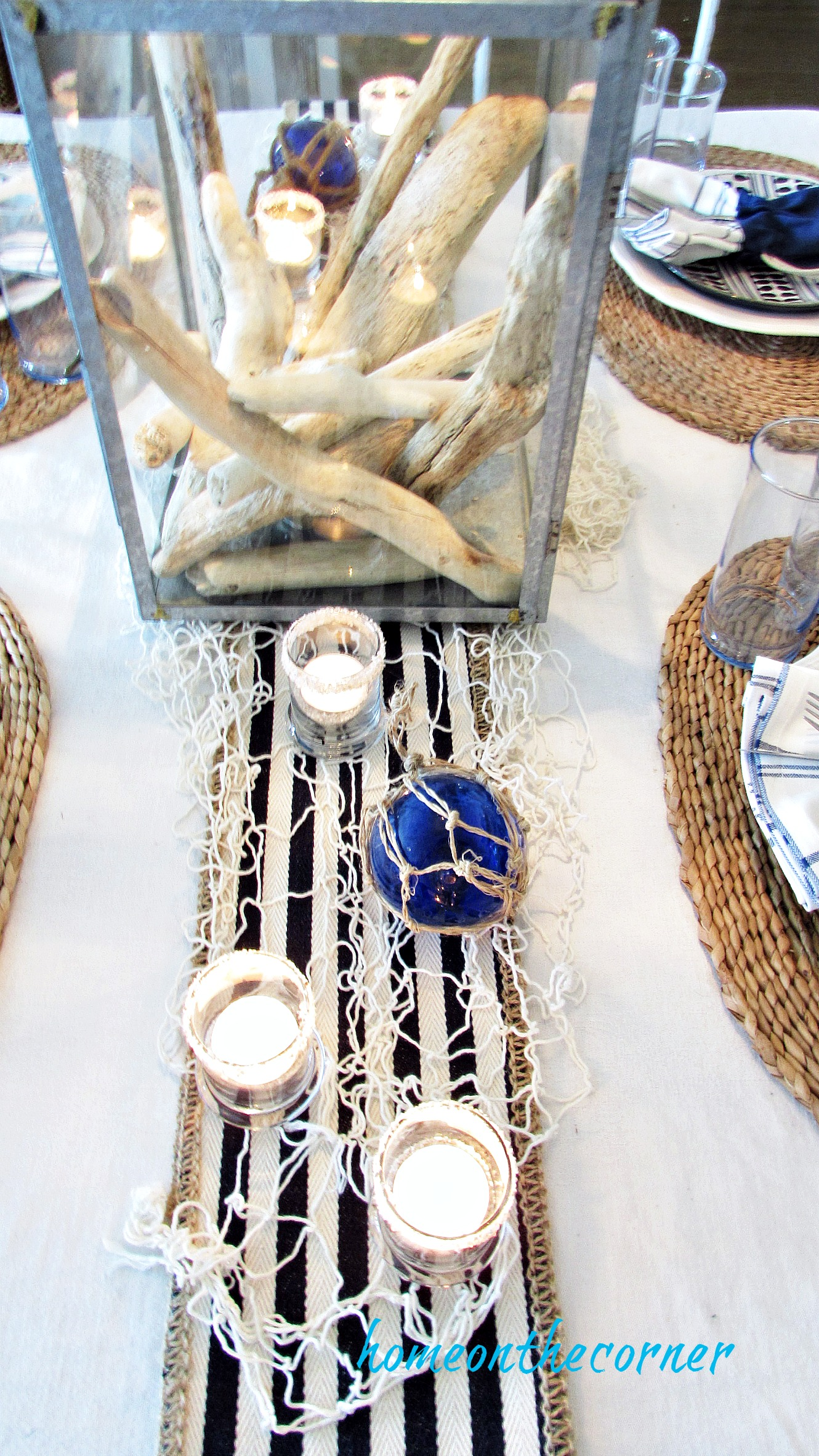 blue and white beach tablescape