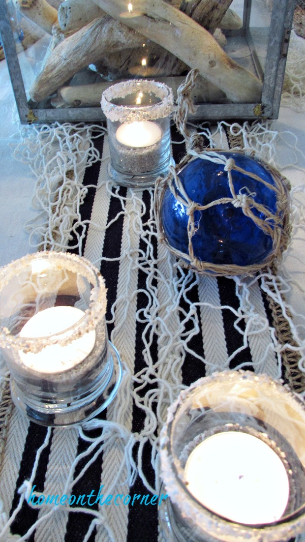 blue and white dining room candles, glass float