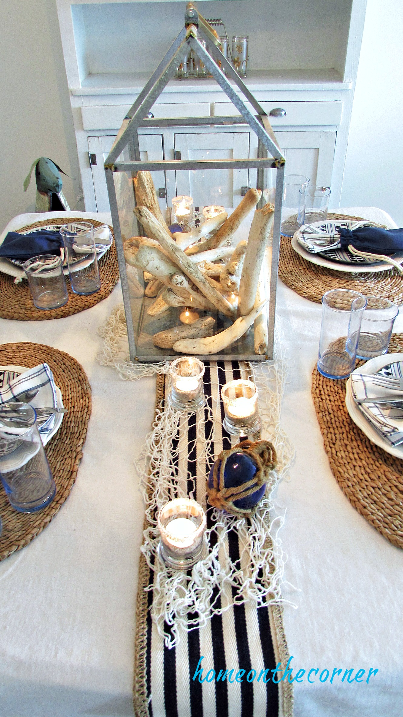 blue and white dining room striped runner and netting