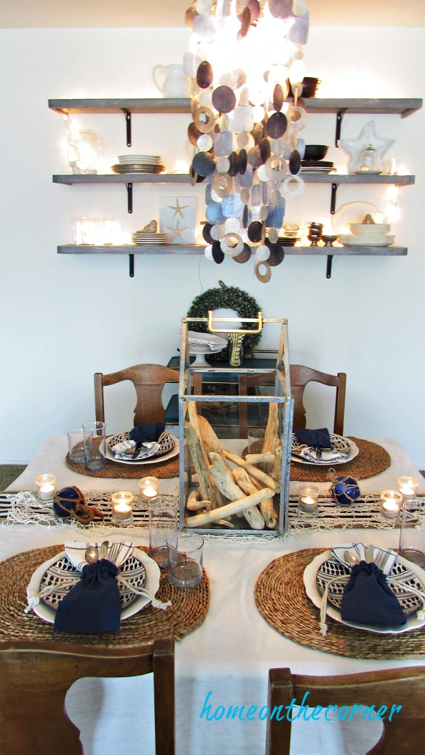 blue and white summer dining room
